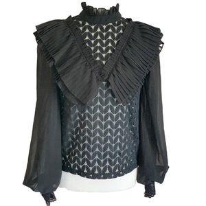 Taroni Collection back lace ruffle blouse 2